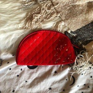 Ipsy Red Quilted Rounded Vegan Leather Makeup Bag